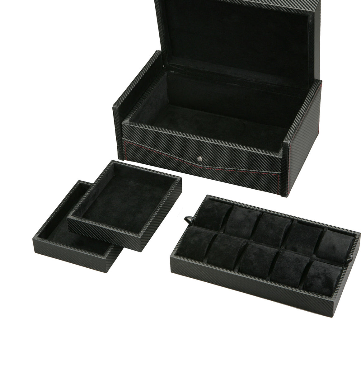 (10) Diplomat Carbon Fiber Watch Box with Extra Storage Tray - Watch Box Co. - 3