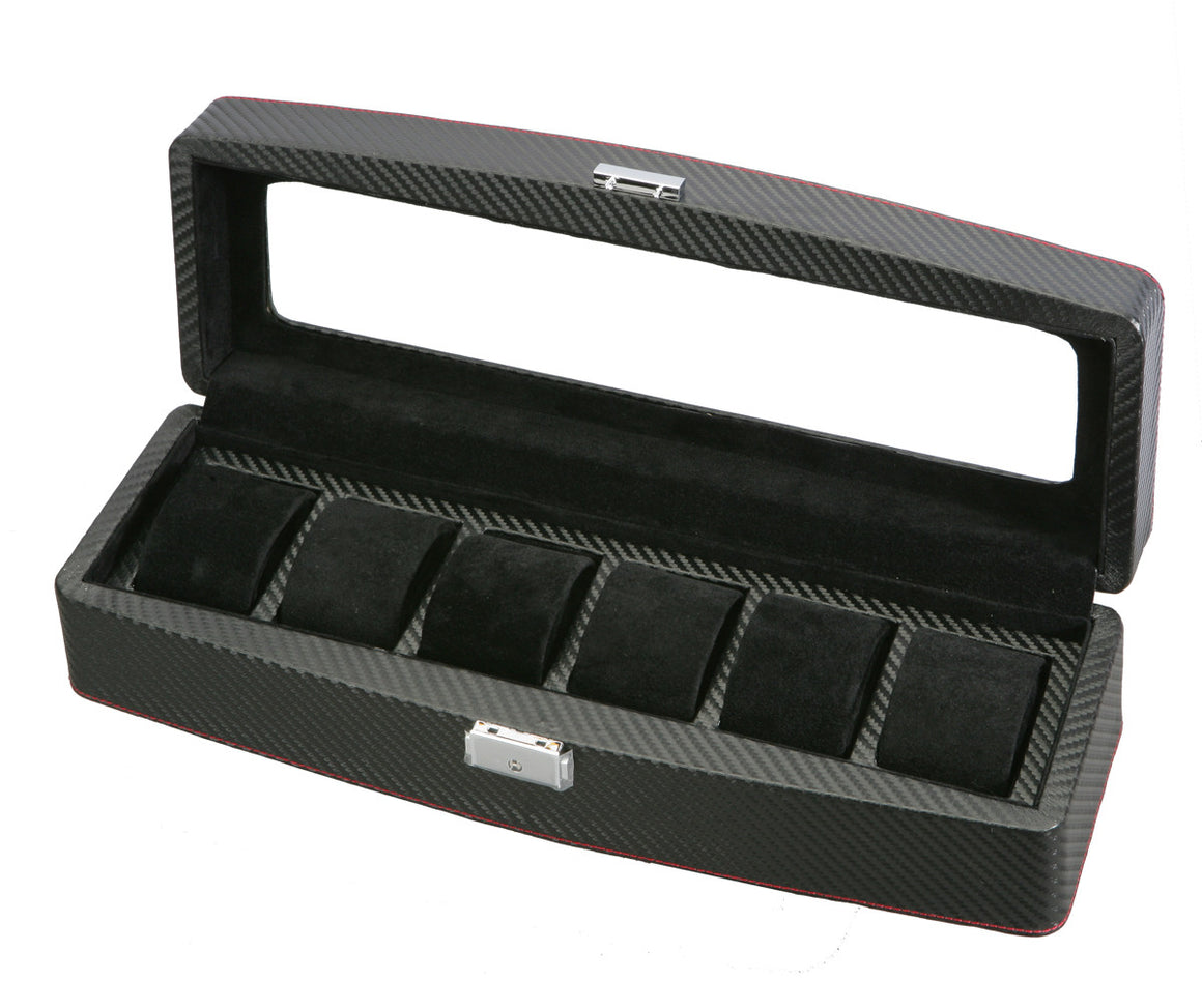 (6) Diplomat Carbon Fiber Watch Box with Clear Top - Watch Box Co. - 1