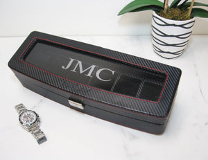 (6) Diplomat Carbon Fiber Watch Box with Clear Top - Watch Box Co. - 3