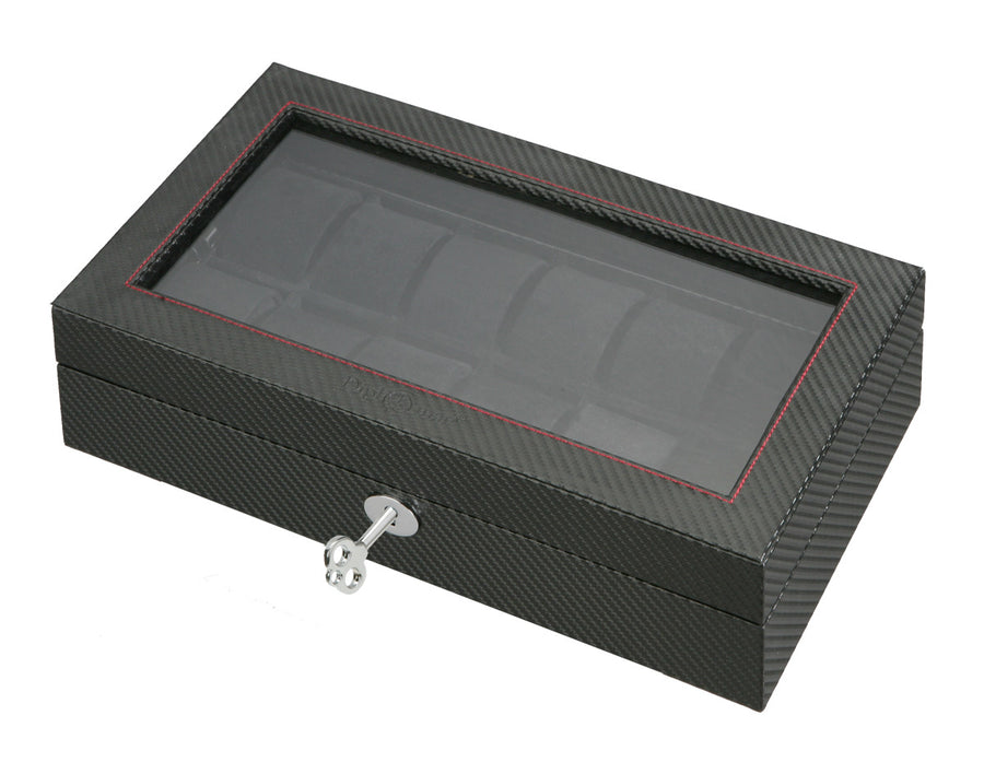 (12) Diplomat Carbon Fiber Watch Box With Clear Top - Watch Box Co. - 1