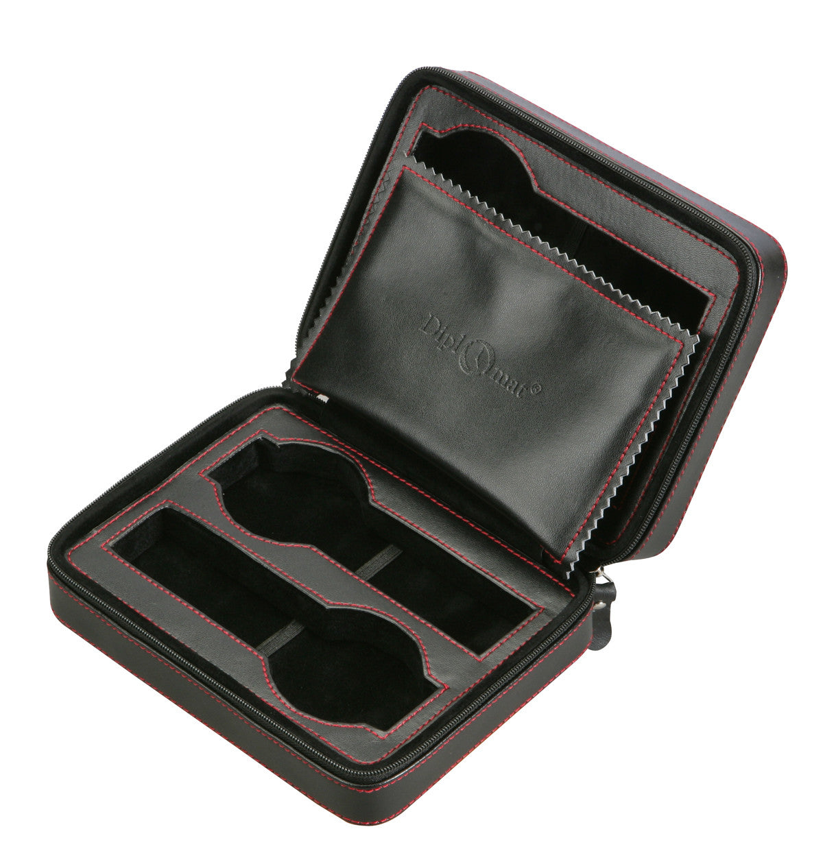 Diplomat Black Leather 4 Watch Travel Case