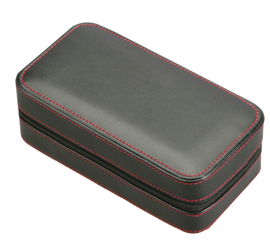 Diplomat Black Leather Double Watch Travel Case - Watch Box Co. - 1