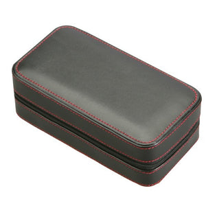 Diplomat Black Leather 2 Watch Travel Case - Watch Box Co. - 2