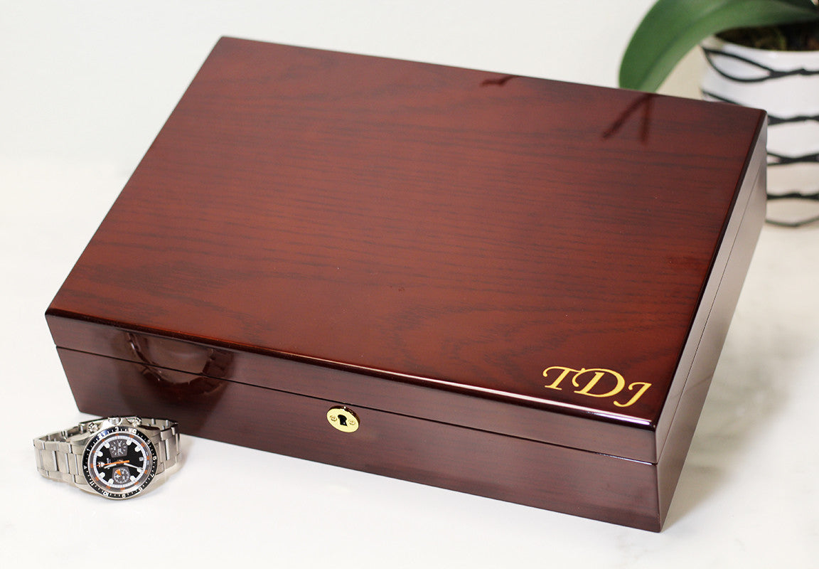 Cream Interior Diplomat Genuine Mahogany Wood Watch Box - Watch Box Co. - 3