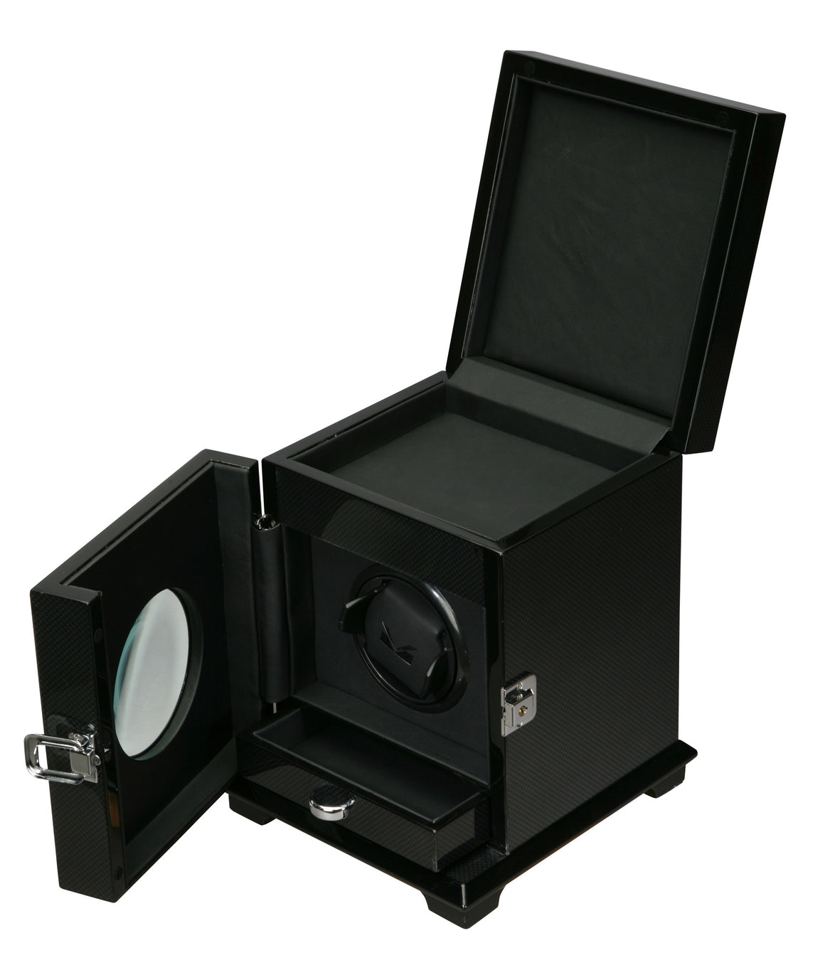 Volta Carbon Fiber Single Watch Winder w/ Storage - Watch Box Co. - 1