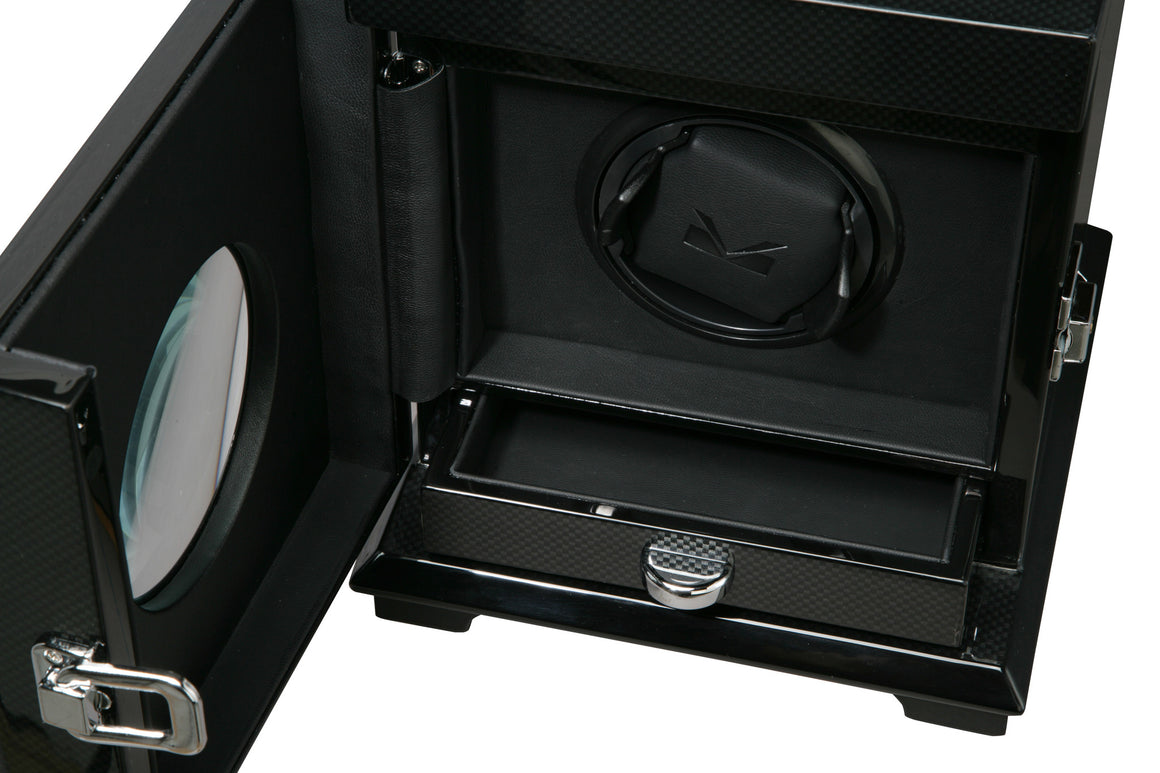 Volta Carbon Fiber Single Watch Winder w/ Storage - Watch Box Co. - 2