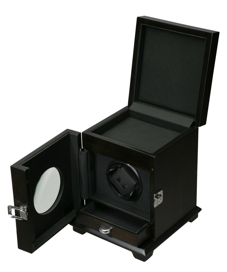 Volta Rustic Brown Single Watch Winder w/ Storage - Watch Box Co. - 1