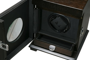 Volta Rustic Brown Single Watch Winder w/ Storage - Watch Box Co. - 2