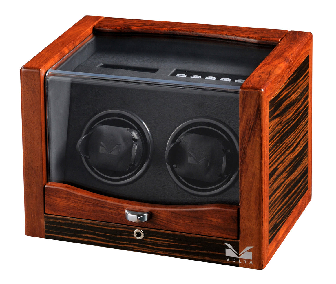 Volta Teak Wood Double Watch Winder - Watch Box Co. - 1