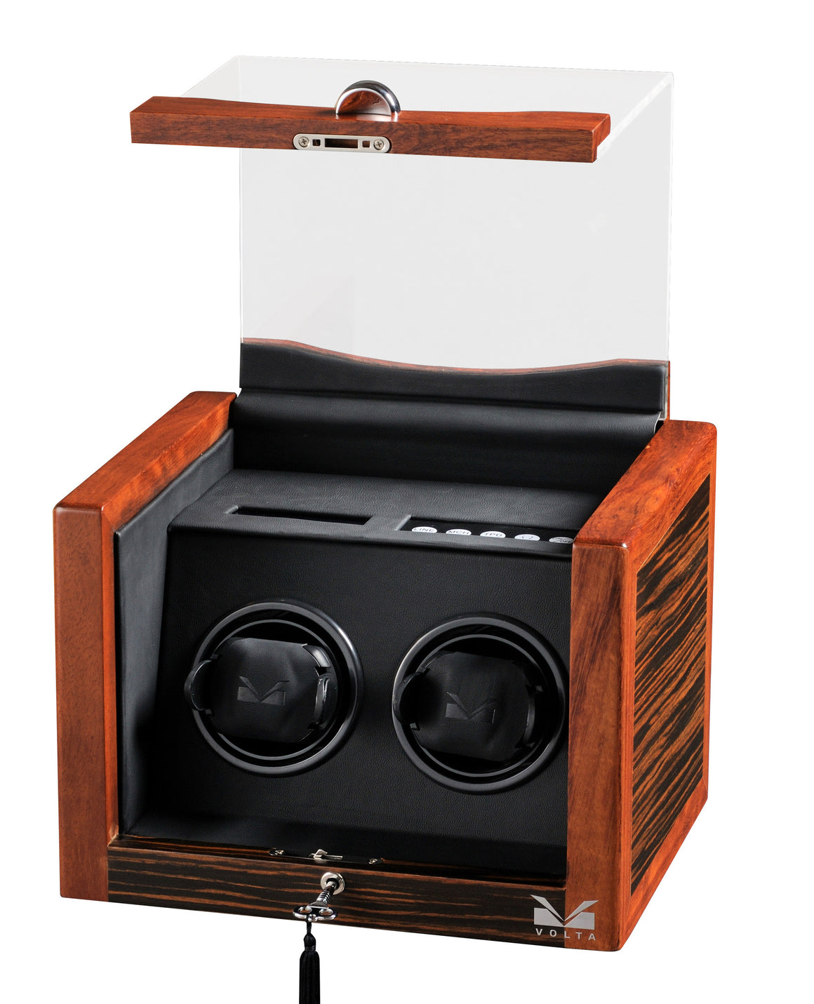 Volta Teak Wood Double Watch Winder - Watch Box Co. - 2