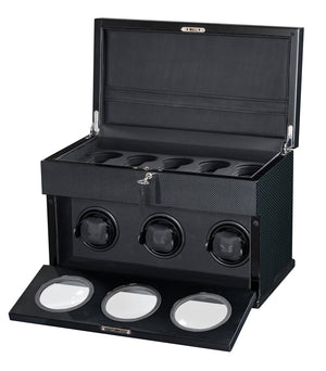 Volta Carbon Fiber 3 Watch Winder - Watch Box Co. - 1