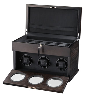 Volta Rustic Brown Wood 3 Watch Winder - Watch Box Co. - 1