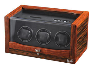 Volta Teak Wood 3 Watch Winder - Watch Box Co. - 2