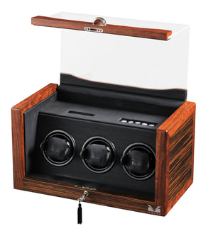 Volta Teak Wood 3 Watch Winder - Watch Box Co. - 1