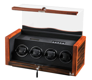Volta Rustic Teak Wood Four Watch Winder - Watch Box Co. - 1