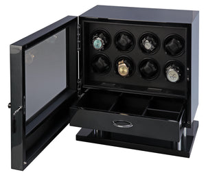 Volta Carbon Fiber 8 Watch Winder With Extra Storage Compartment