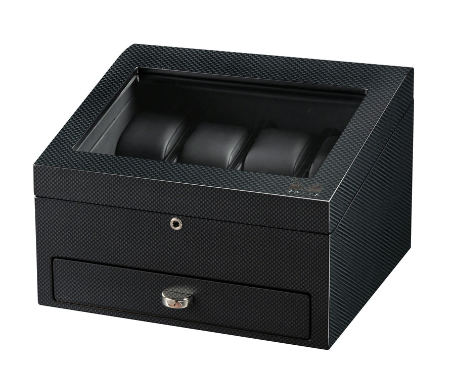 Volta 8 Carbon Fiber Watch Box With Extra Storage Compartment - Watch Box Co. - 1