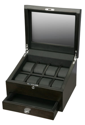 Volta Rustic Brown 8 Wood Watch Case With Extra Storage Compartment - Watch Box Co. - 2