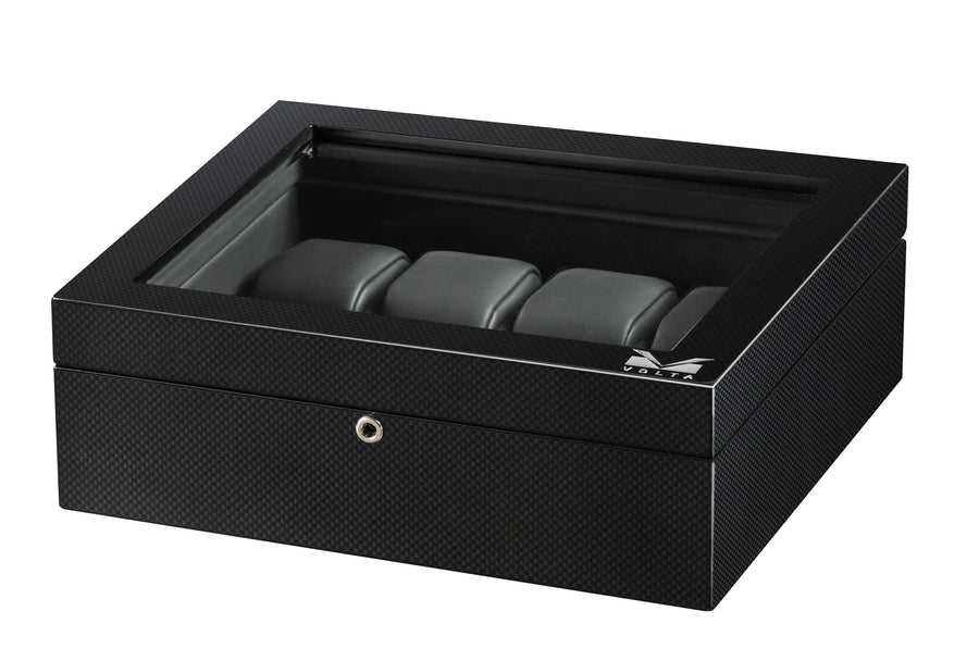 Volta 8 Carbon Fiber Watch Box With Glass Top - Watch Box Co. - 1