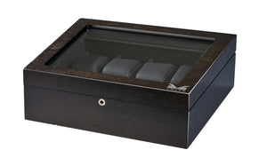 Volta Rustic Brown 8 Wood Watch Case With Glass Top - Watch Box Co. - 2