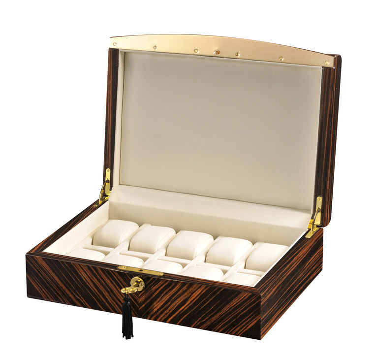 Volta Ebony 10 Wood Watch Case w/ Gold Trim - Watch Box Co. - 1