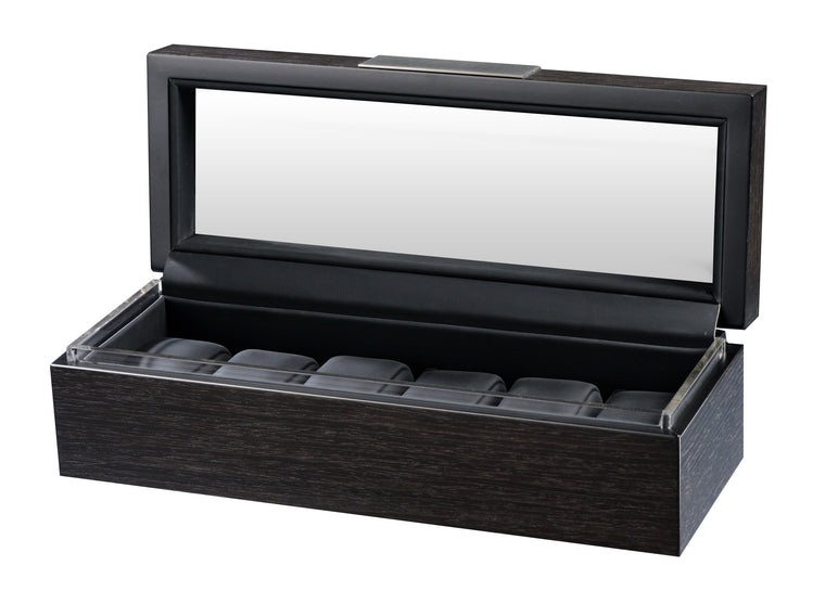 Volta 6 Matte Charcoal Wood Watch Case - Watch Box Co. - 1
