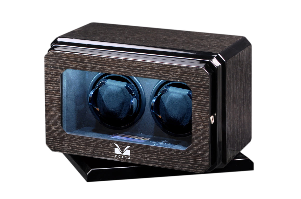 Volta Black Oak Double Watch Winder with Rotation Base - Watch Box Co. - 1