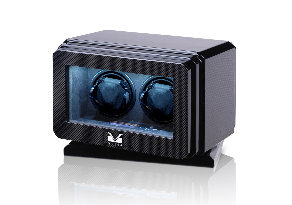 Volta Carbon Fiber Double Watch Winder with Rotation Base - Watch Box Co. - 1