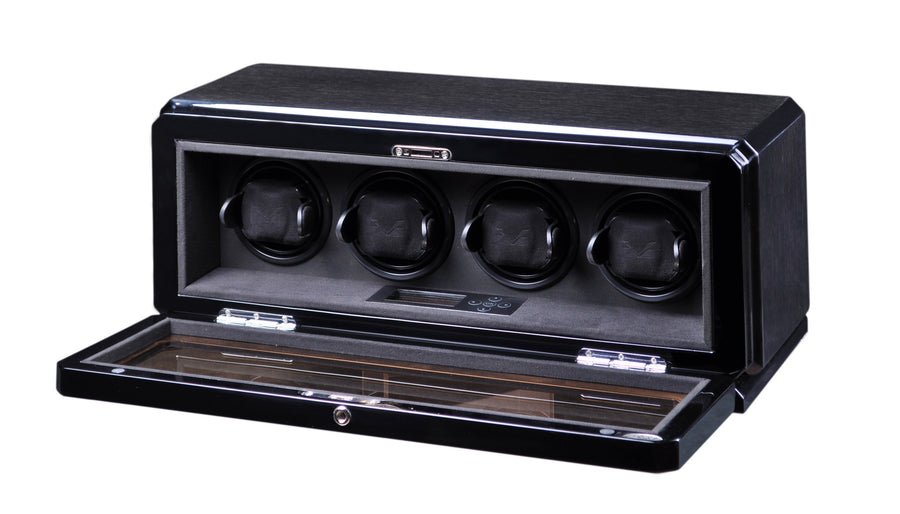 Volta Black Oak Four Watch Winder - Watch Box Co. - 1