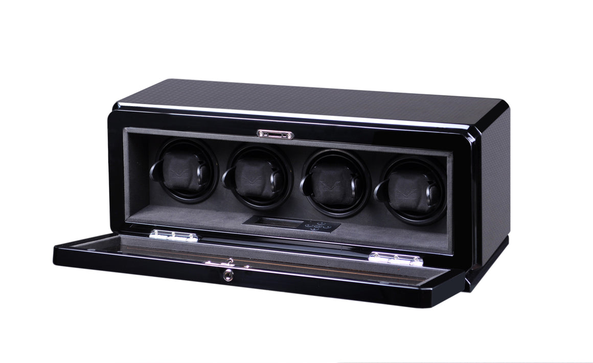 Volta Carbon Fiber Four Watch Winder - Watch Box Co. - 2