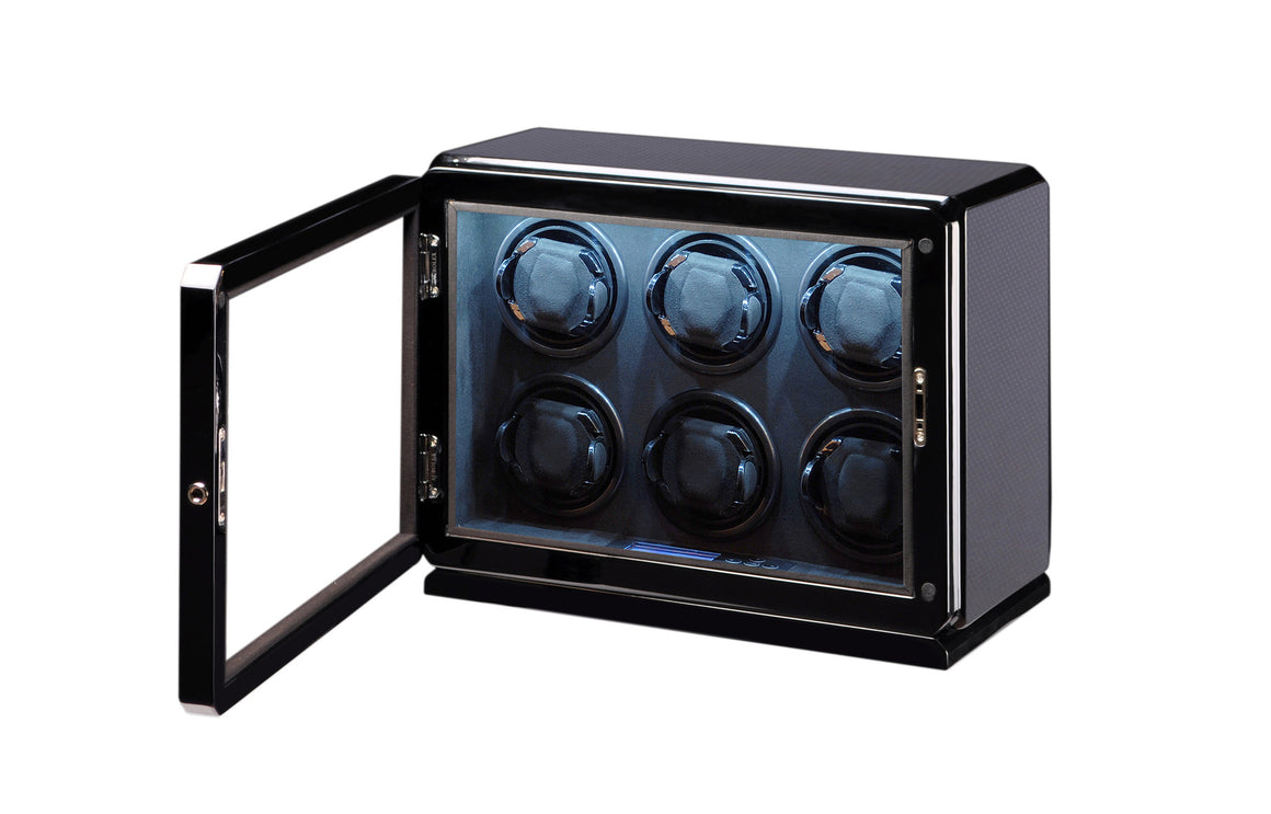 Volta Carbon Fiber Six Watch Winder - Watch Box Co. - 2