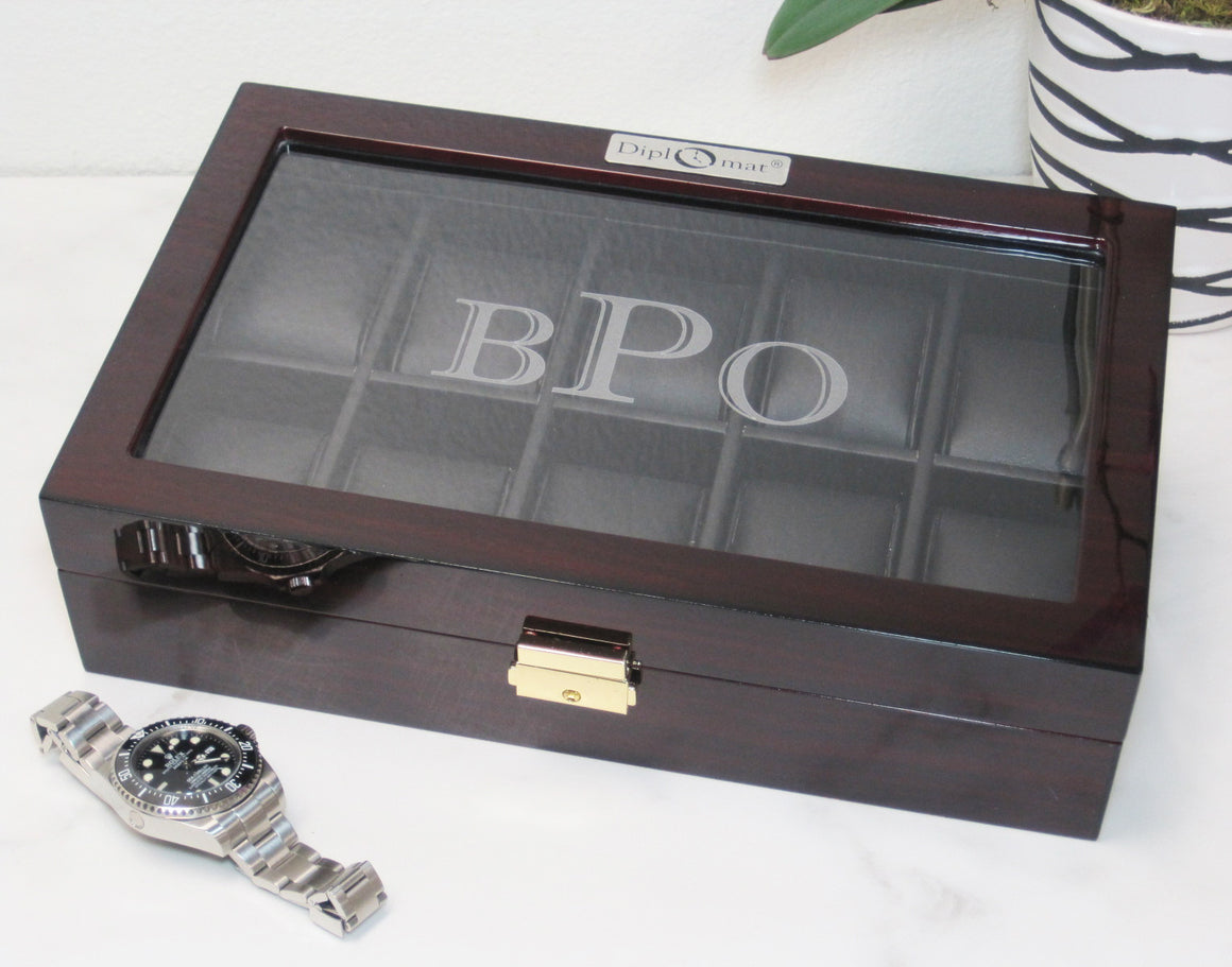 (10) Diplomat Ebony Wood Watch Box - Watch Box Co. - 3