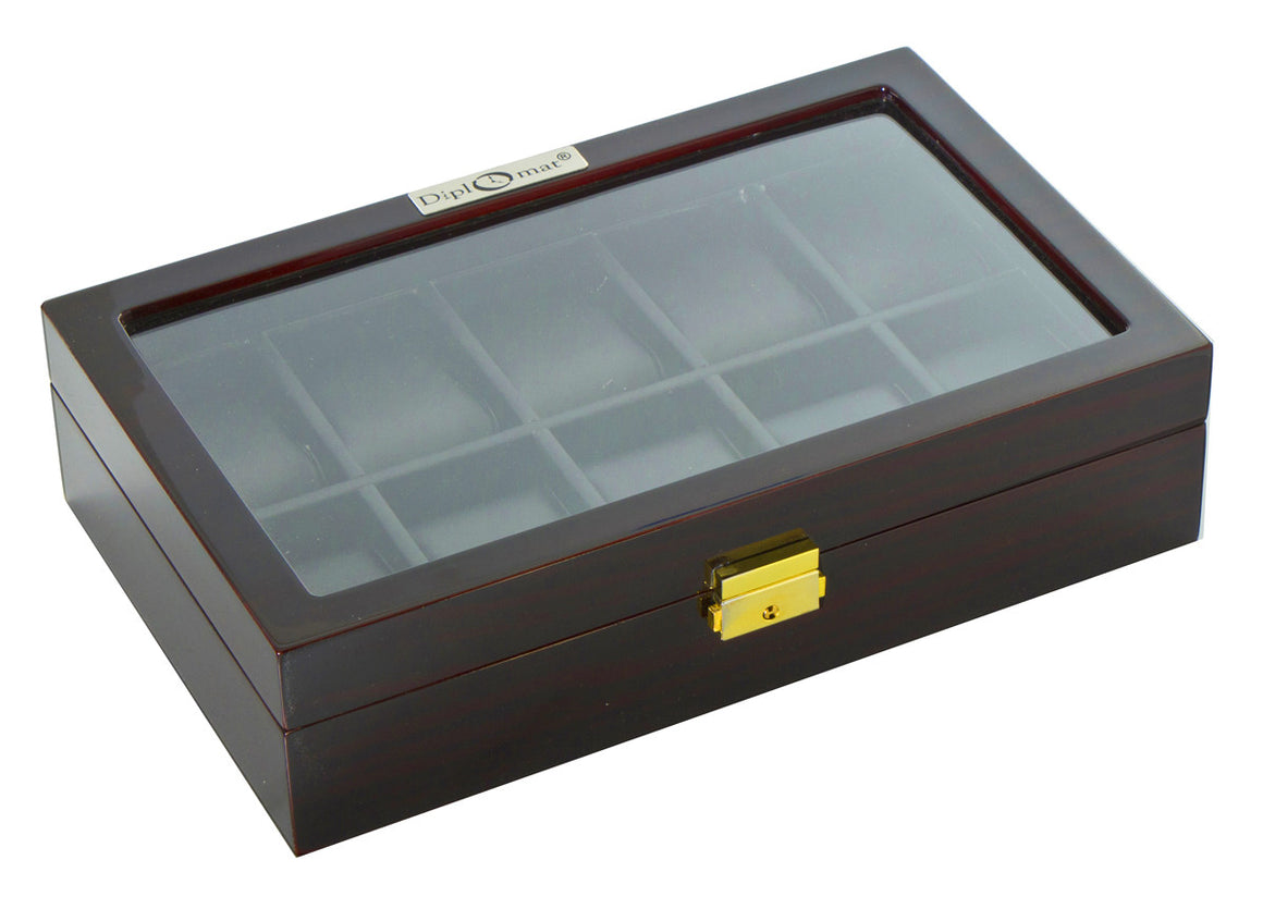 (10) Diplomat Ebony Wood Watch Box - Watch Box Co. - 2
