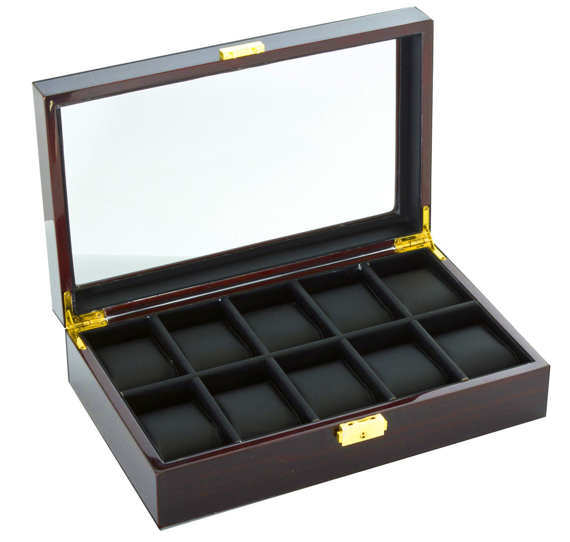 (10) Diplomat Ebony Wood Watch Box - Watch Box Co. - 1