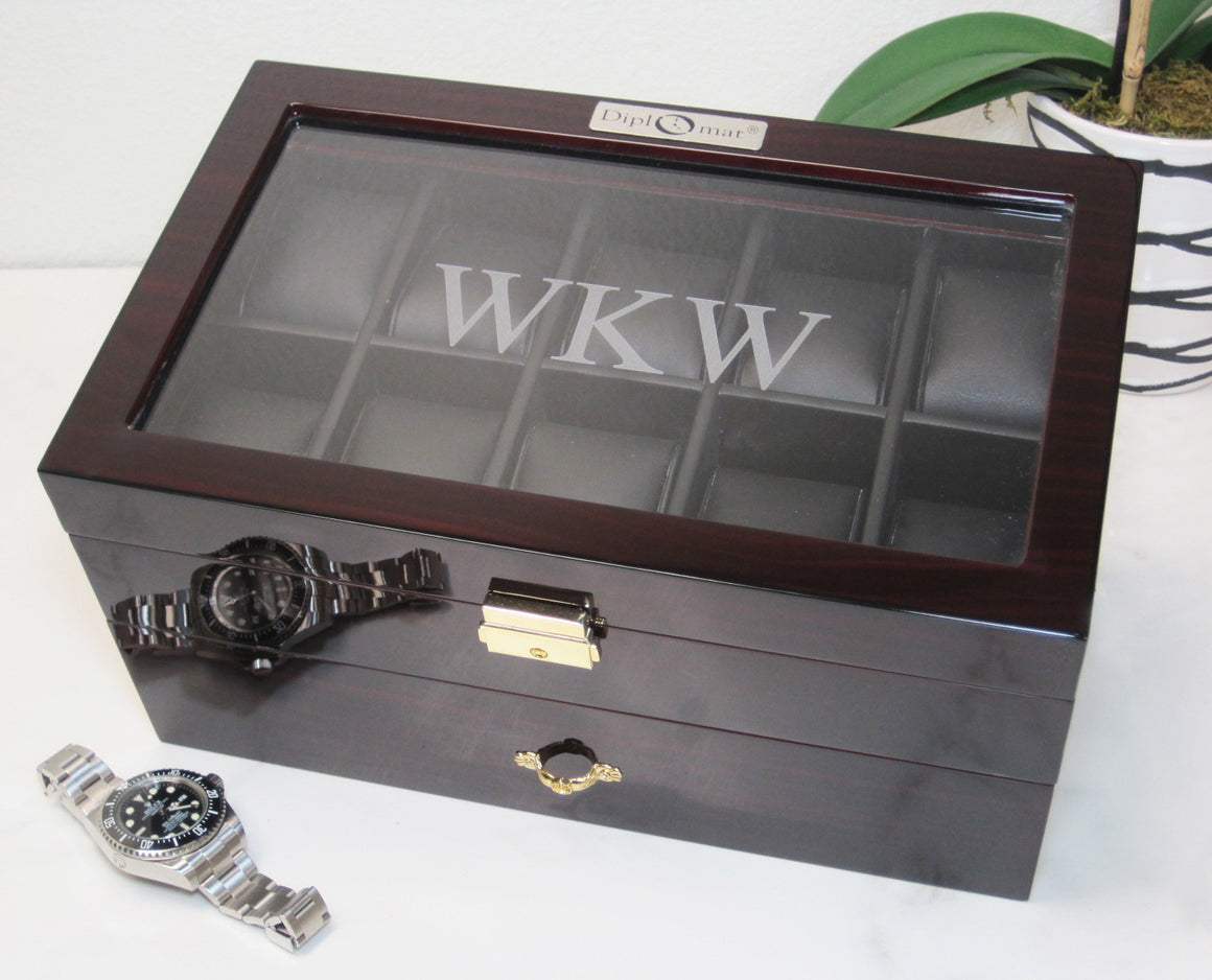 (20) Diplomat Dark Ebony wood Watch Box - Watch Box Co. - 3