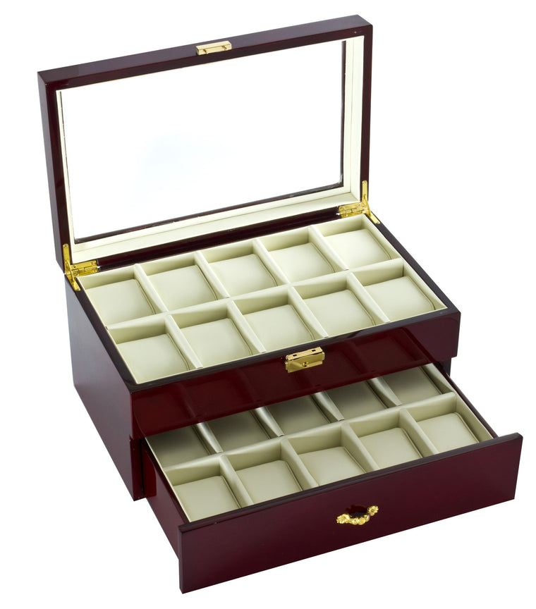 (20) Diplomat Glossy Rosewood Watch Box - Watch Box Co. - 1