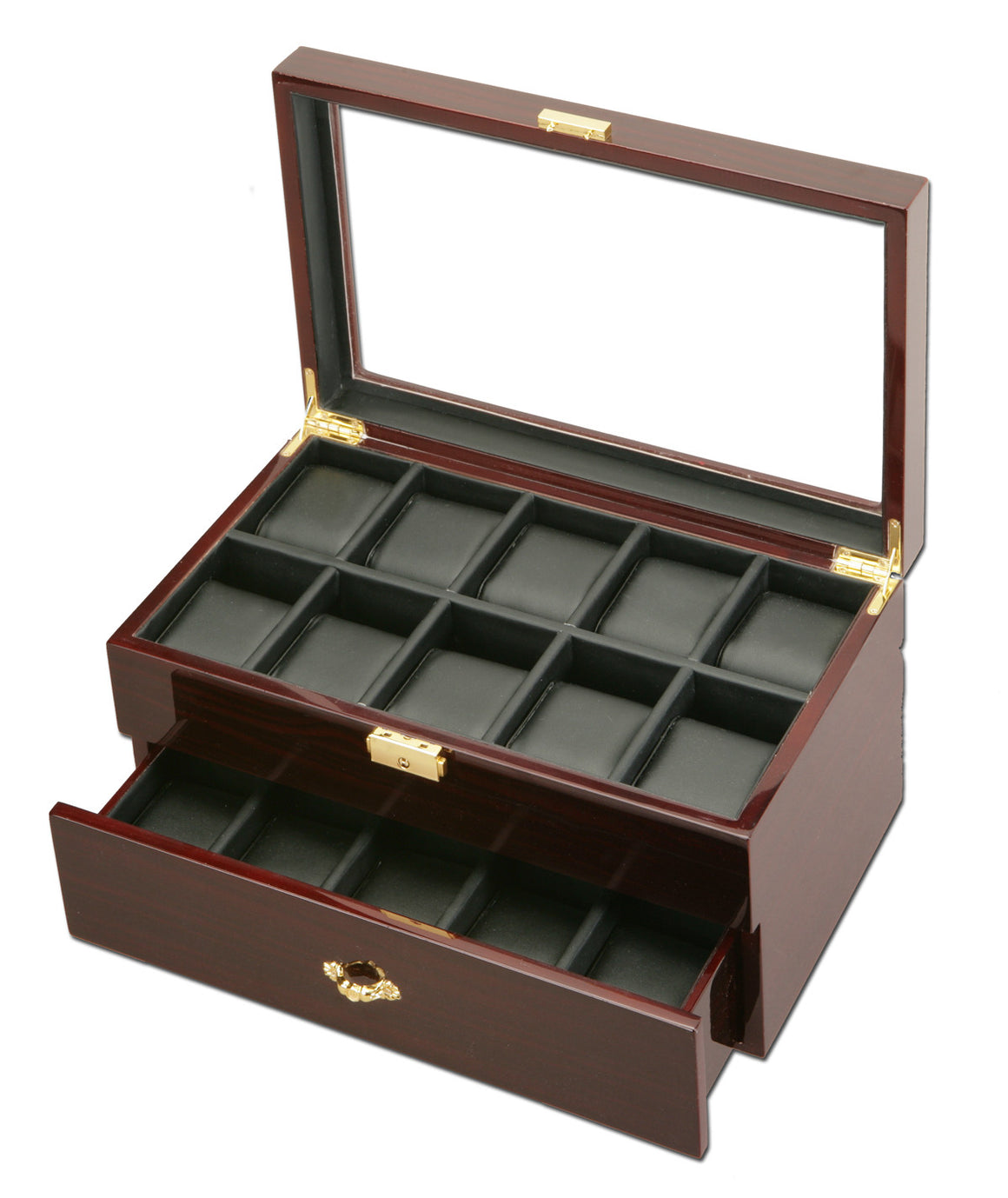 (20) Diplomat Dark Ebony wood Watch Box - Watch Box Co. - 1