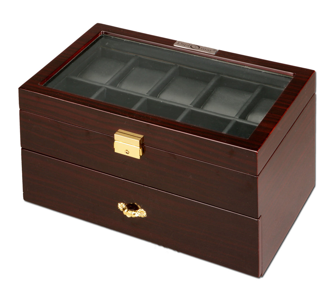 (20) Diplomat Dark Ebony wood Watch Box - Watch Box Co. - 2