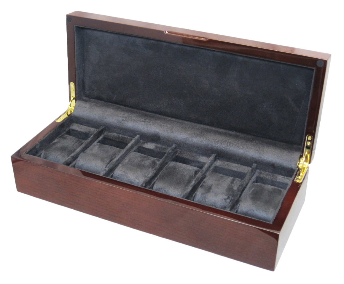 (6) Genuine Mahogany Wood Watch Box - Watch Box Co. - 1