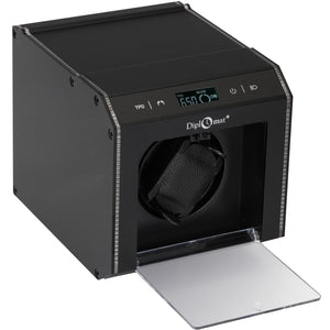 Diplomat Brushed Black Aluminum Single Watch Winder With L.E.D Lighting.