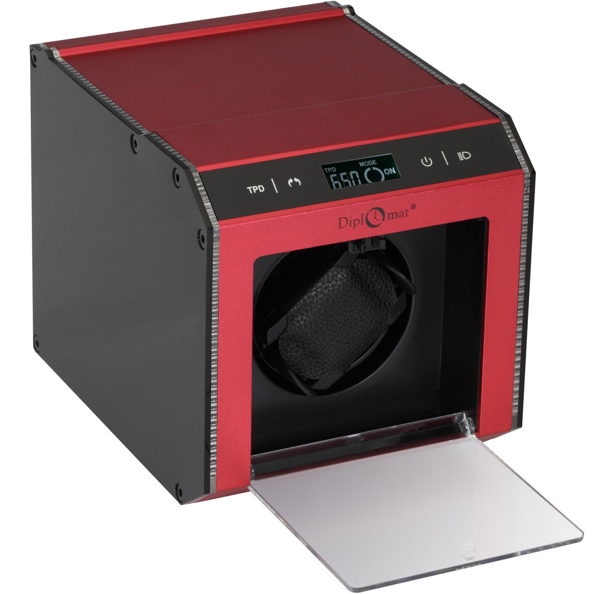 Diplomat Brushed Red Aluminum Single Watch Winder With L.E.D Lighting.