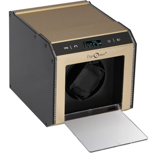 Diplomat Brushed Champagne Aluminum Single Watch Winder With L.E.D Lighting.