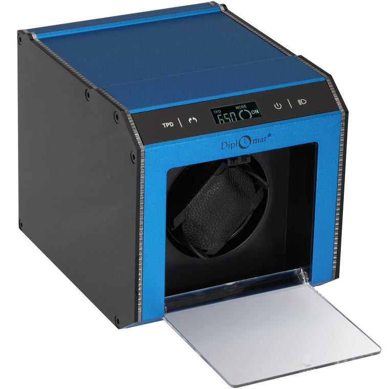 Diplomat Brushed Blue Aluminum Single Watch Winder With L.E.D Lighting.