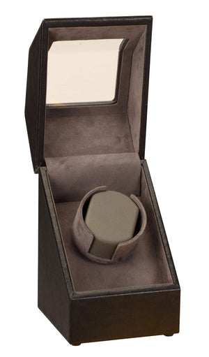 Diplomat Black Leather Single Watch Winder with Stitch Trim - Watch Box Co. - 2