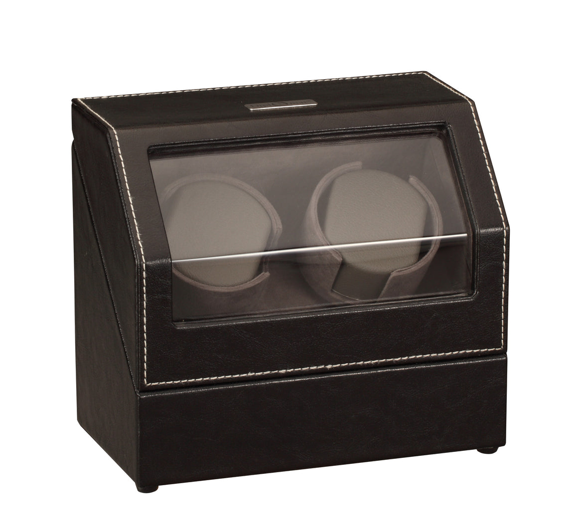 Diplomat Black Leather Double Watch Winder with Stitch Trim - Watch Box Co. - 2