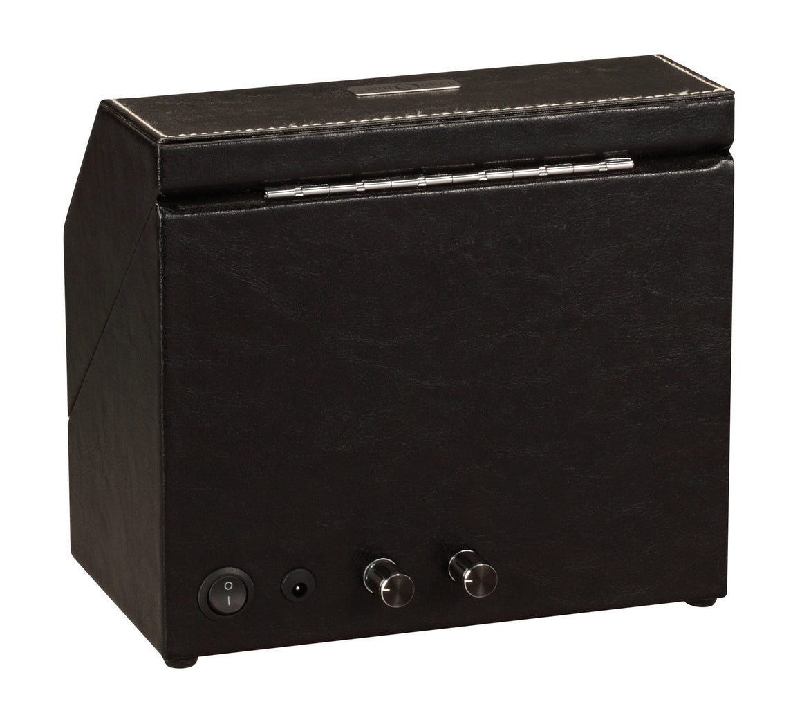 Diplomat Black Leather Double Watch Winder with Stitch Trim - Watch Box Co. - 3