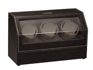 Diplomat Black Leather 3 Watch Winder - Watch Box Co. - 2