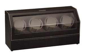 Diplomat Black Leather Four Watch Winder - Watch Box Co. - 2