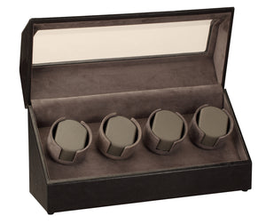 Diplomat Black Leather Four Watch Winder - Watch Box Co. - 1