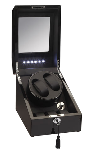 Diplomat Black Edition Double Watch Winder with LED's - Watch Box Co. - 1